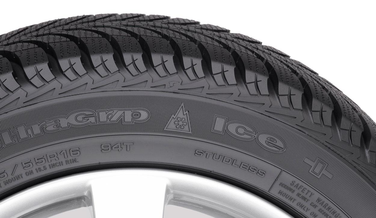 Bjerg- og snefnugsymbol på et dæk